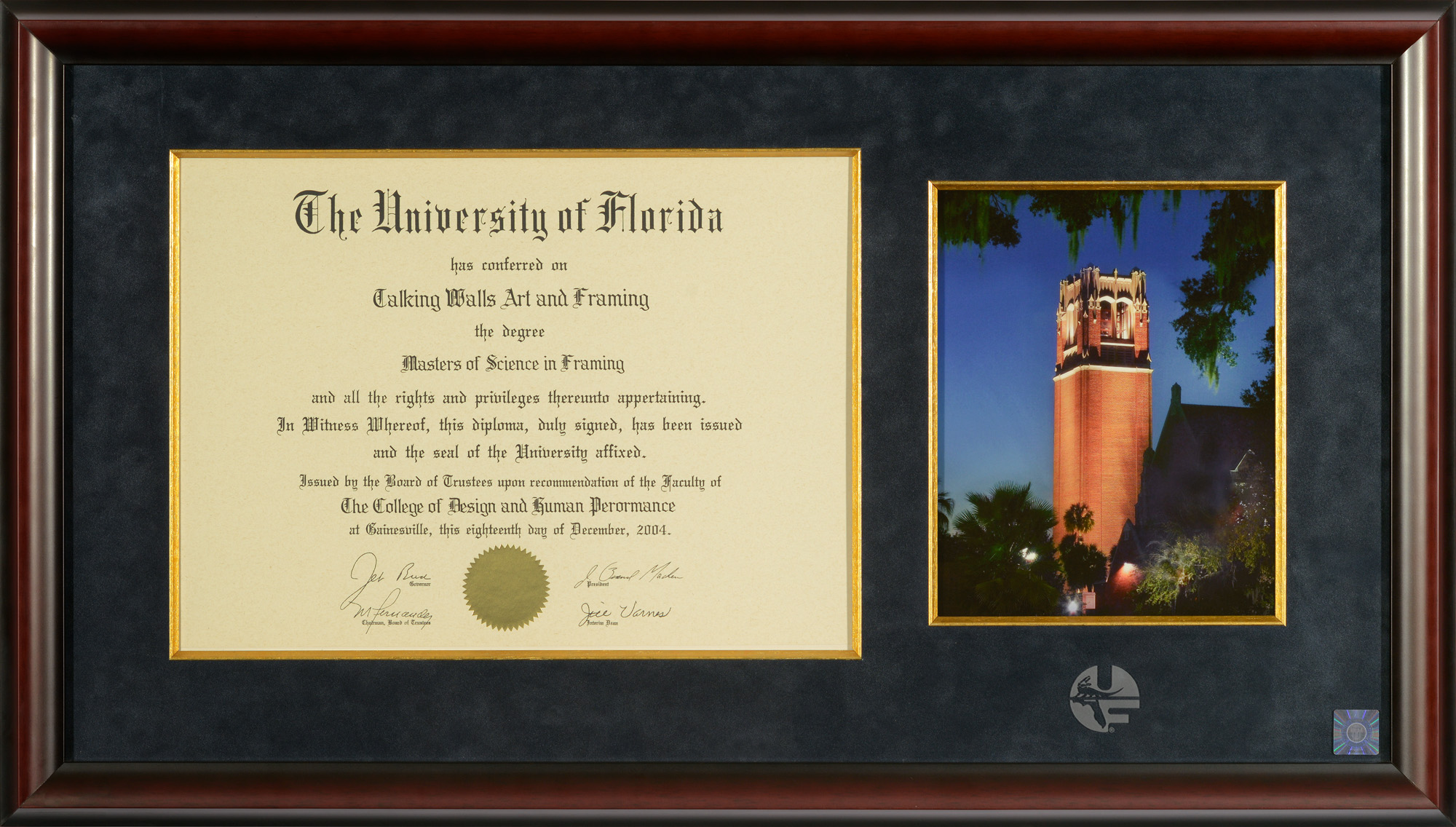 University of Florida Diploma Frames for College of