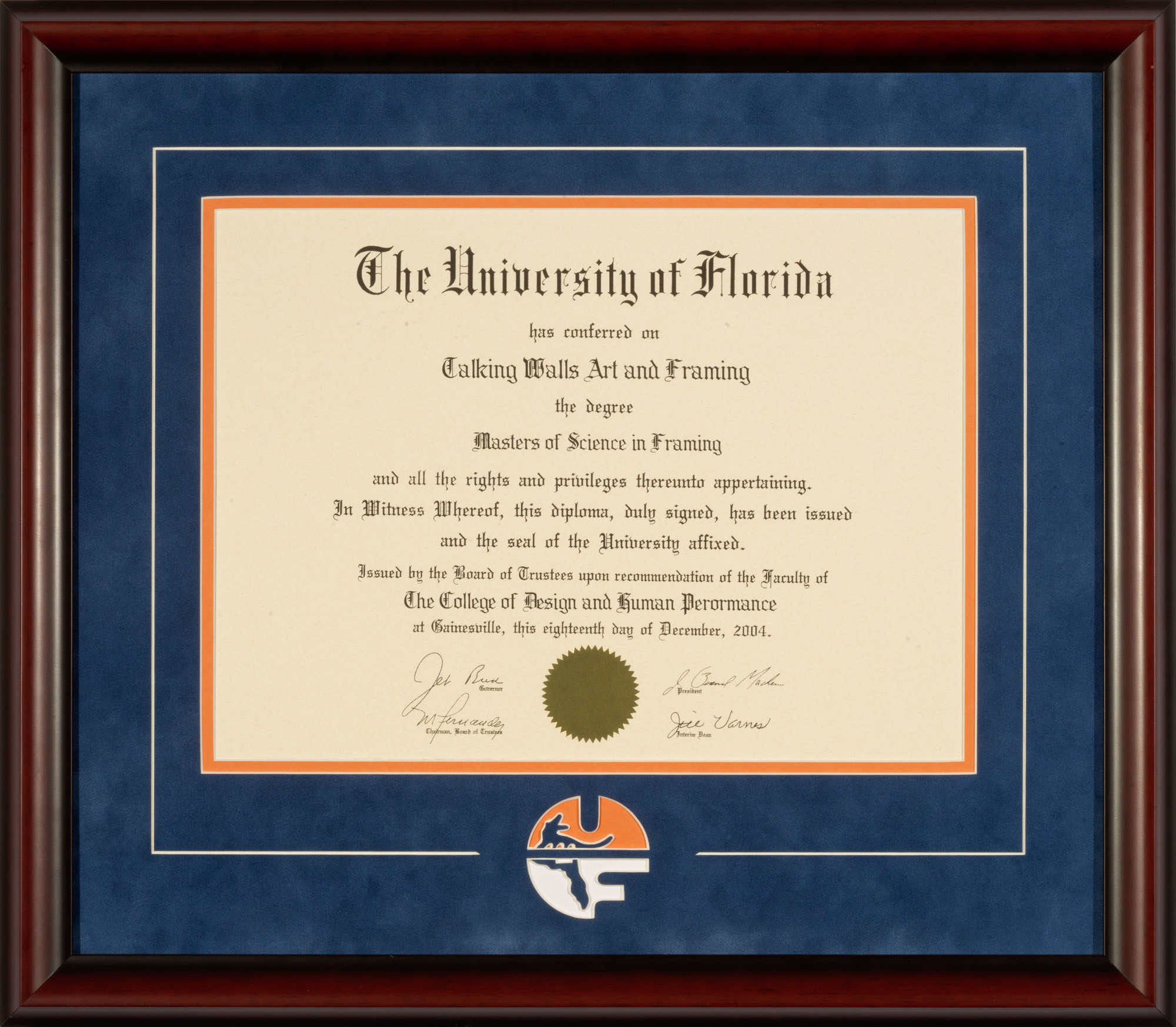 University of Florida Diploma Frames - Talking Walls
