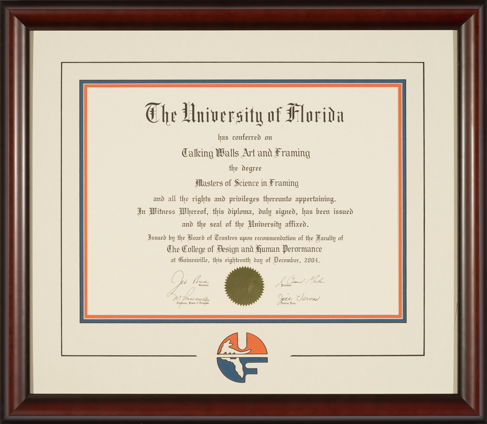 University Of Florida Diploma Frame With Cream Mat And Uf
