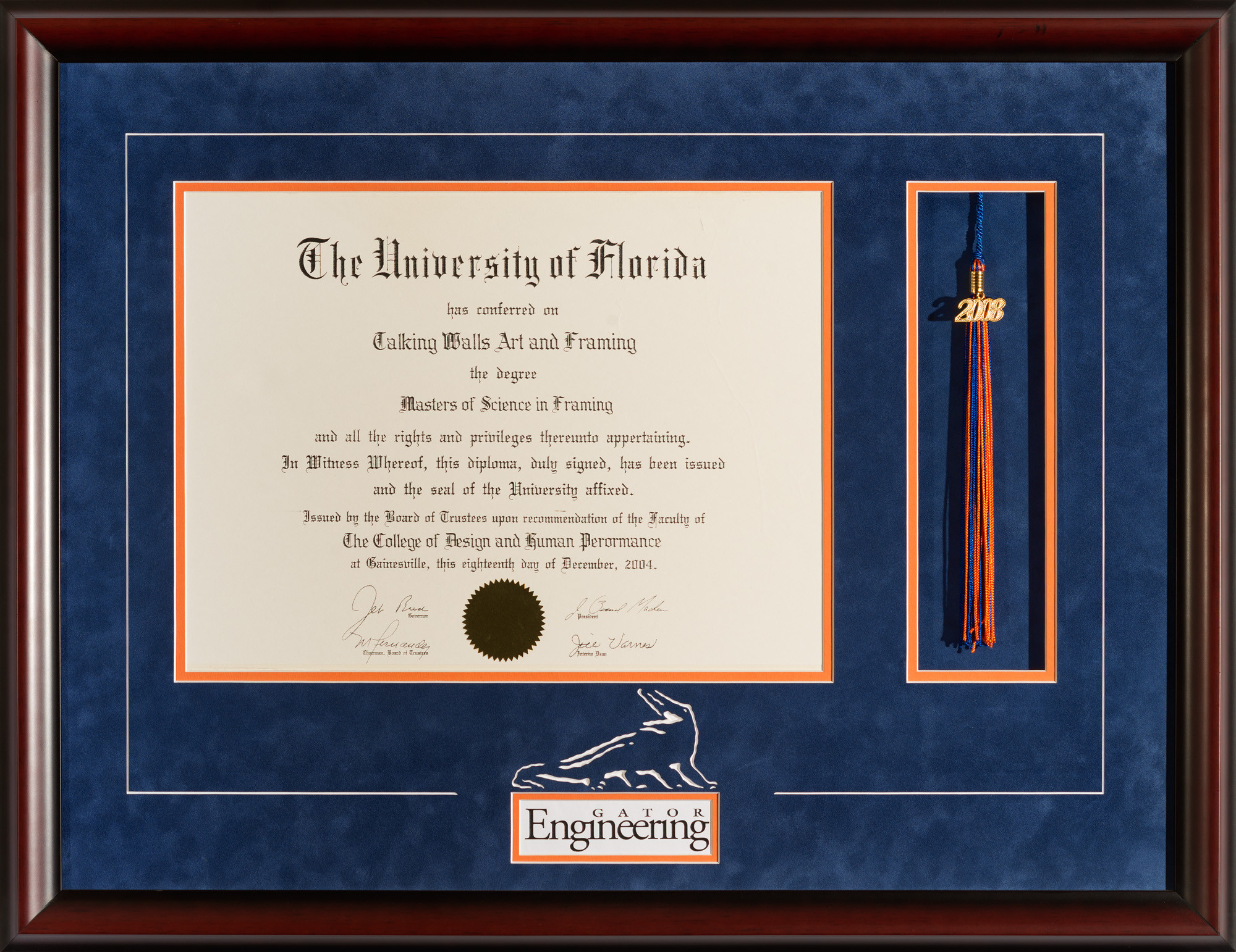 University Of Florida Diploma Frame With Engineering Logo