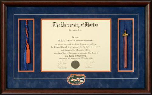 university of florida diploma frame with honor cords tassel opening gators head logo talking walls - Diploma Tassel Frame