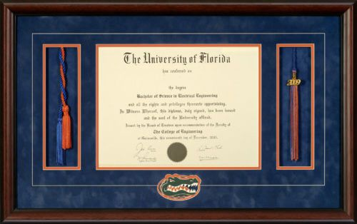 UNIVERSITY OF FLORIDA DIPLOMA FRAME WITH HONOR CORDS, TASSEL OPENING ...