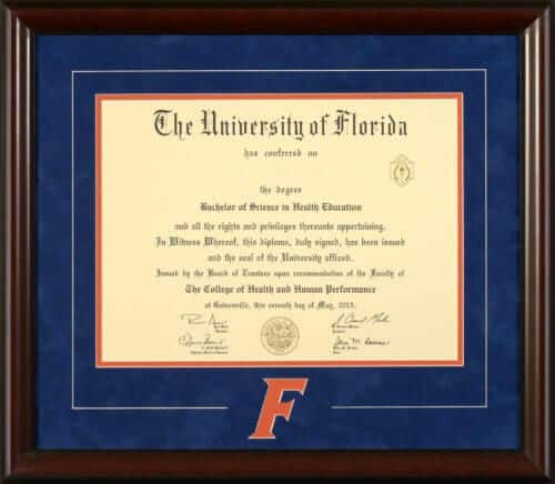 University Of Florida Diploma Frame With Italic Quot F