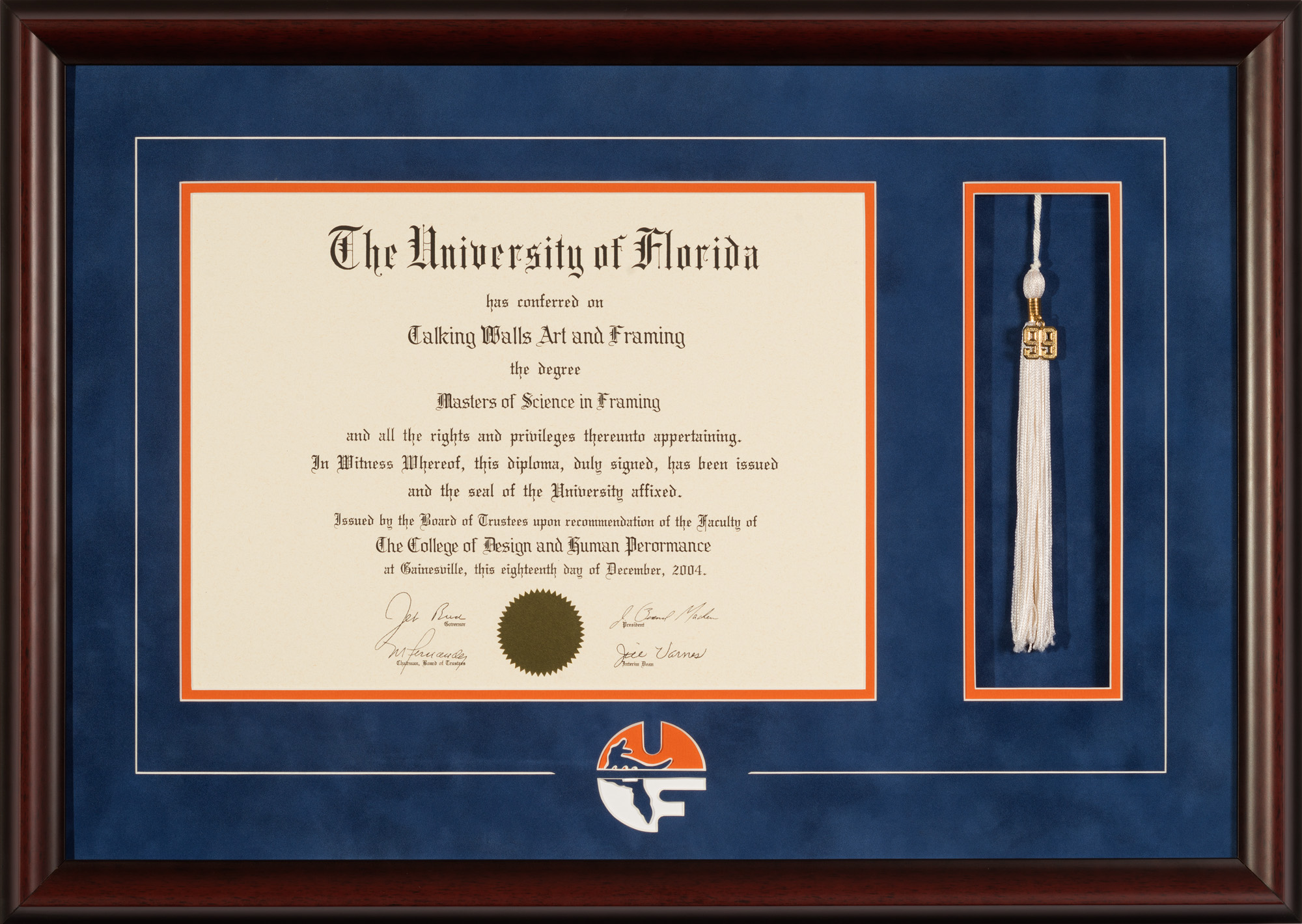UNIVERSITY OF FLORIDA DIPLOMA FRAME WITH LOGO AND TASSEL - Talking Walls