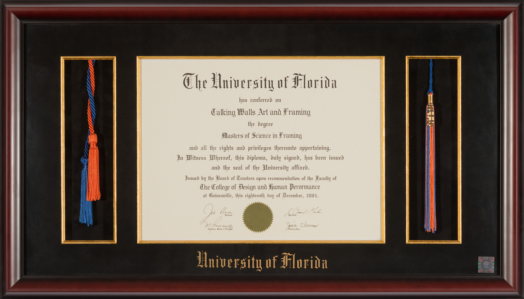 UNIVERSITY OF FLORIDA DIPLOMA FRAME HONOR CORDS AND TASSEL OPENING ...