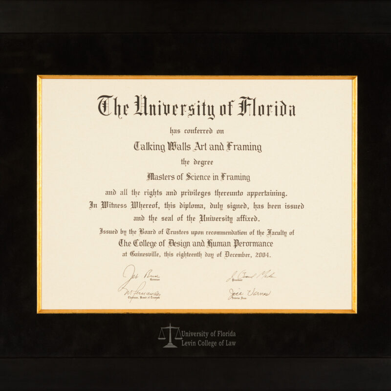 UNIVERSITY OF FLORIDA LEVIN COLLEGE OF LAW DIPLOMA FRAME - Talking Walls