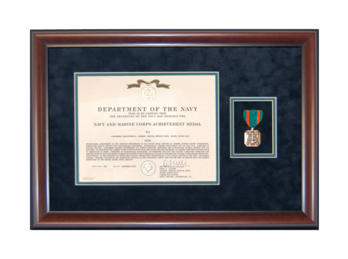 Framed Navy and Marine Corp Commendation Medal