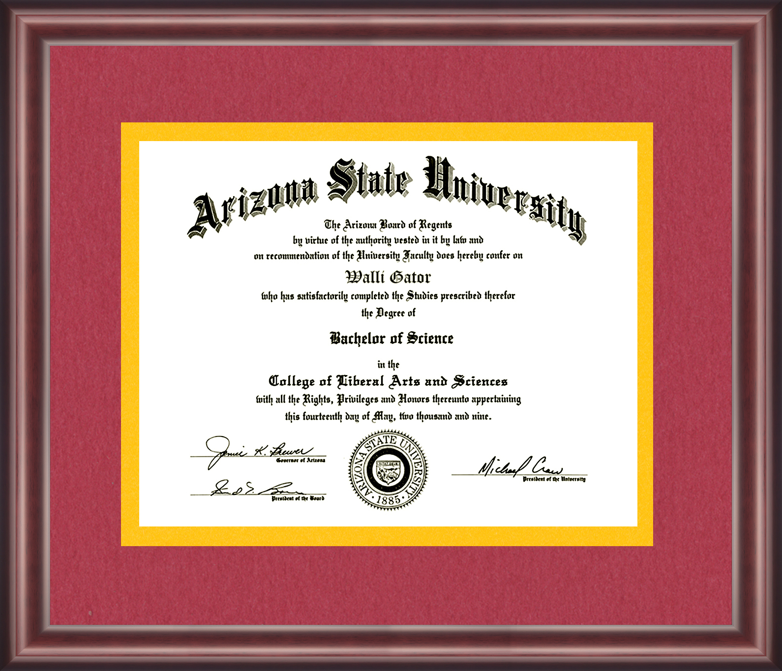 Arizona State University Diploma Frame - Talking Walls