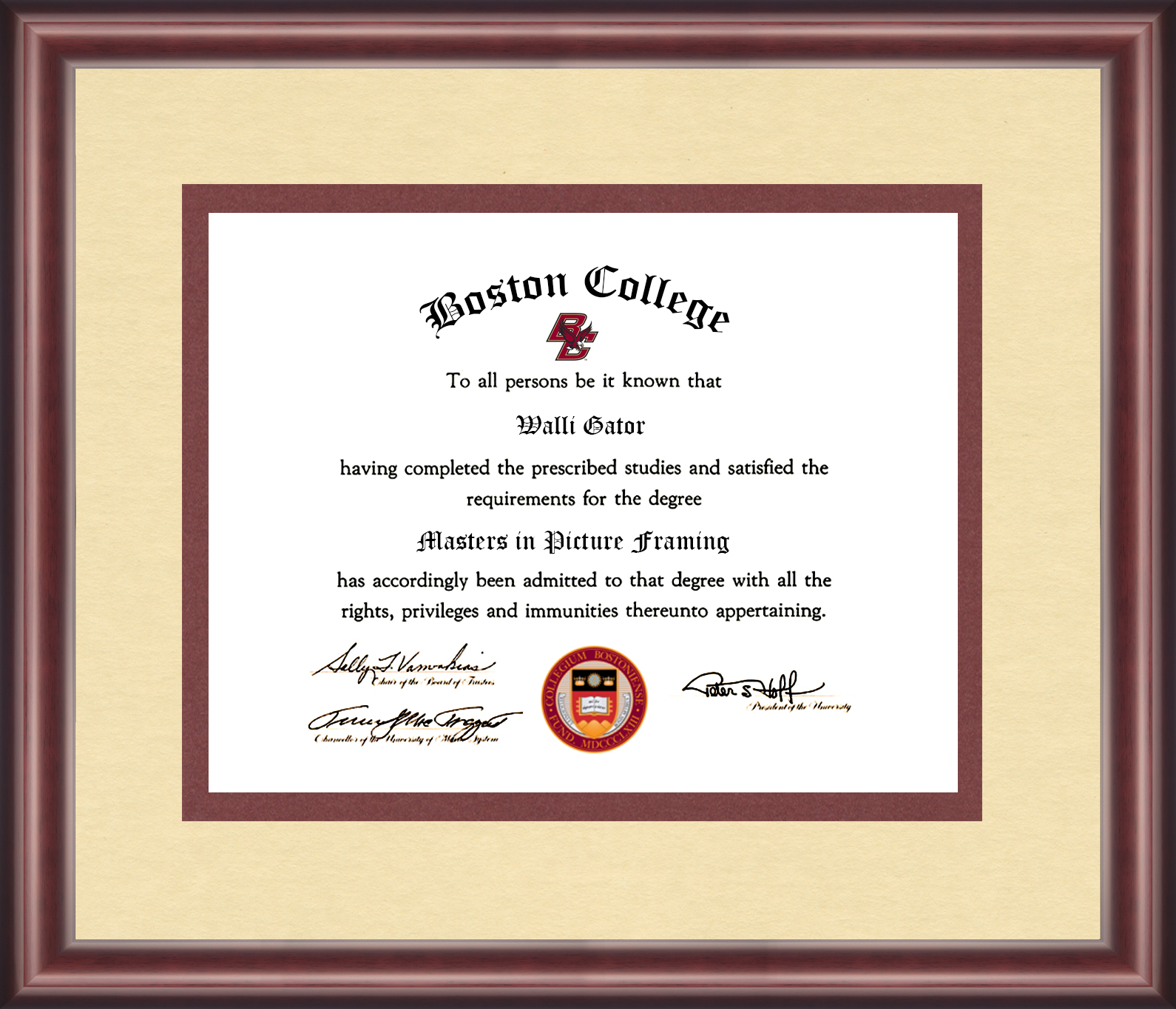 Boston College Diploma Frame - Talking Walls