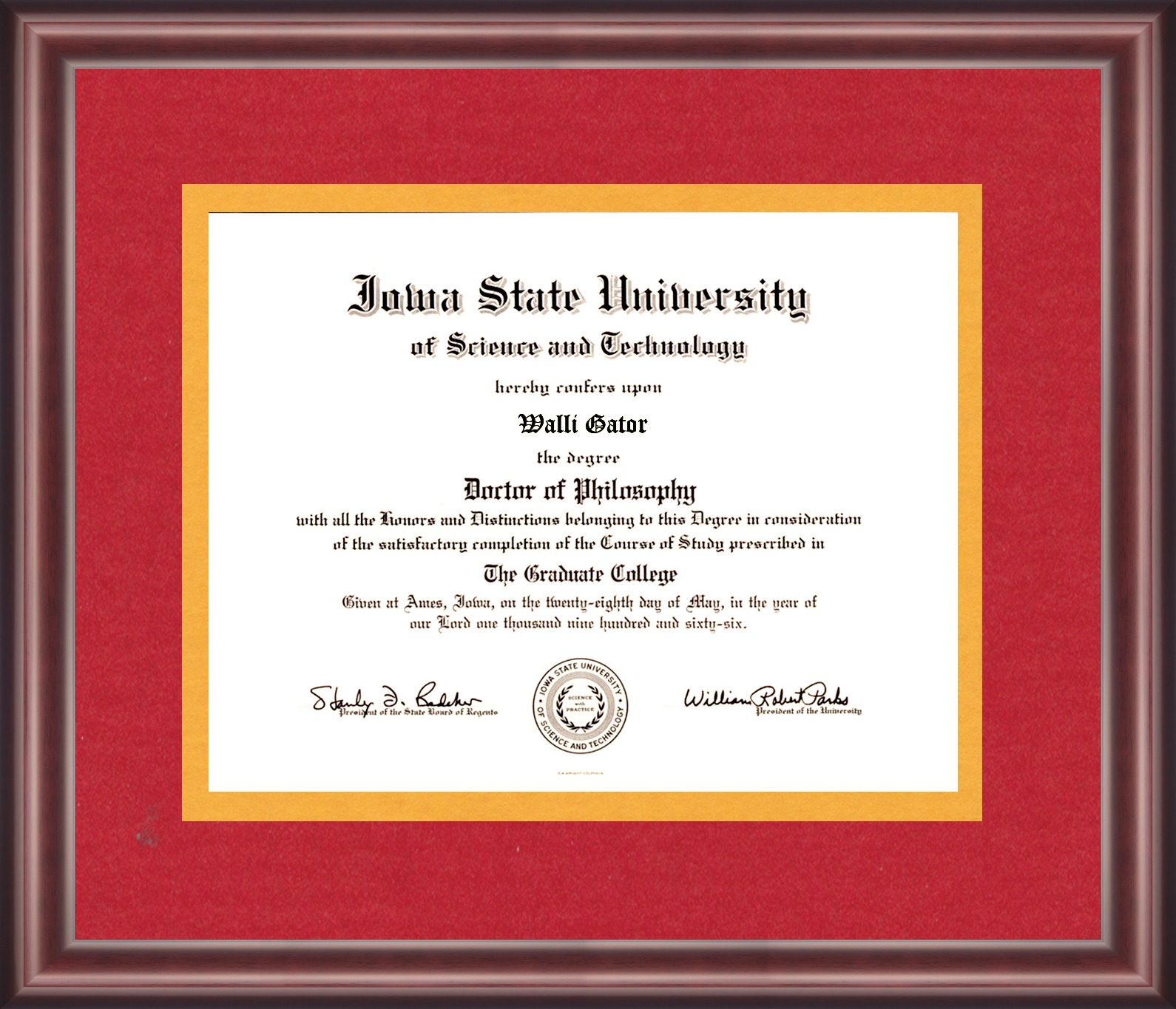 Iowa State University Diploma Frame Talking Walls