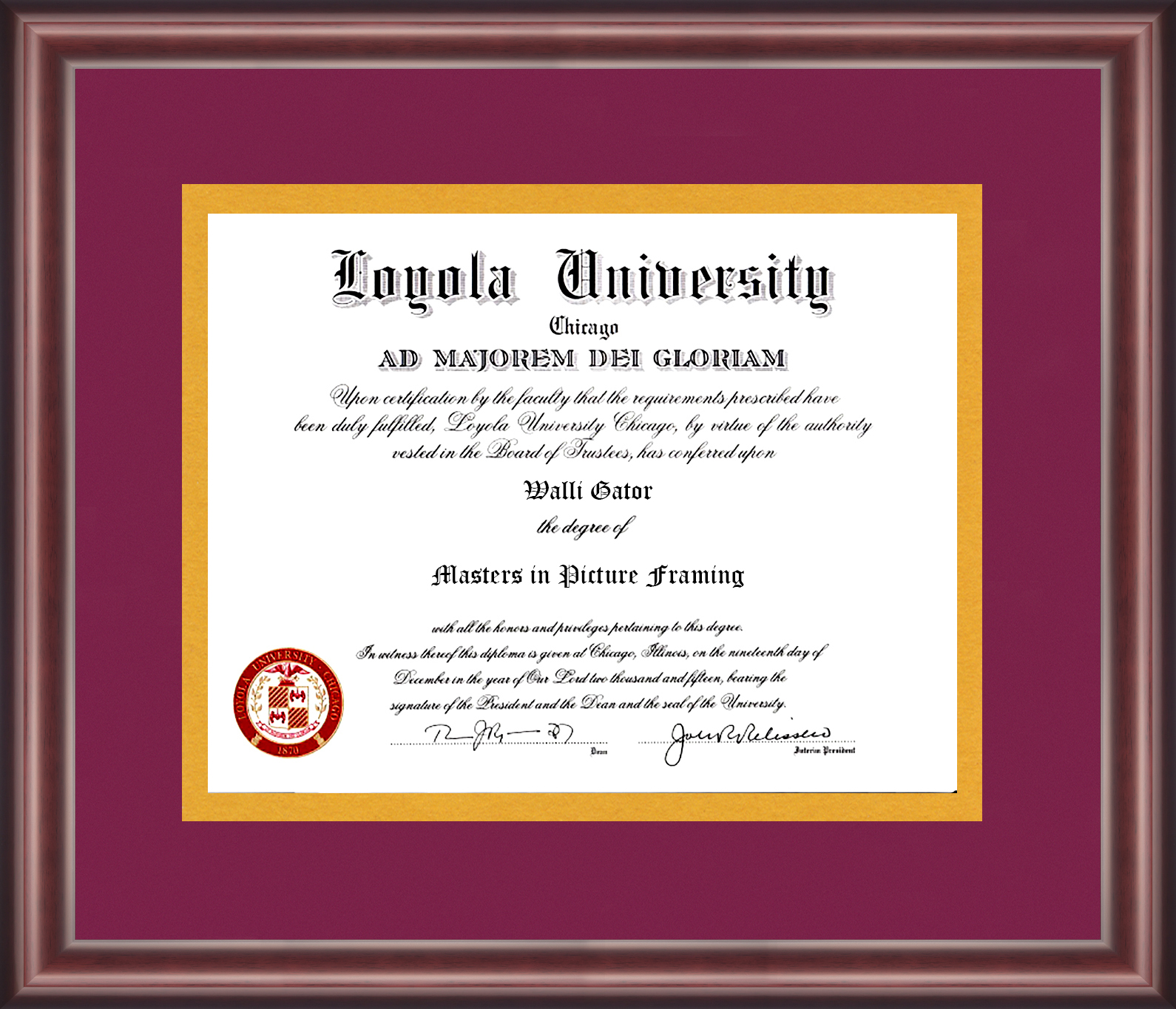 Loyola University Diploma Frame - Talking Walls