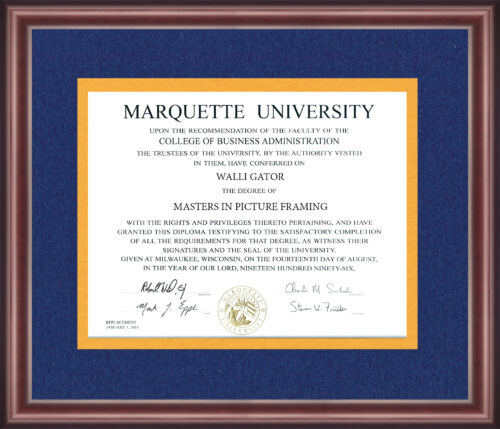 Marquette University Diploma Frame