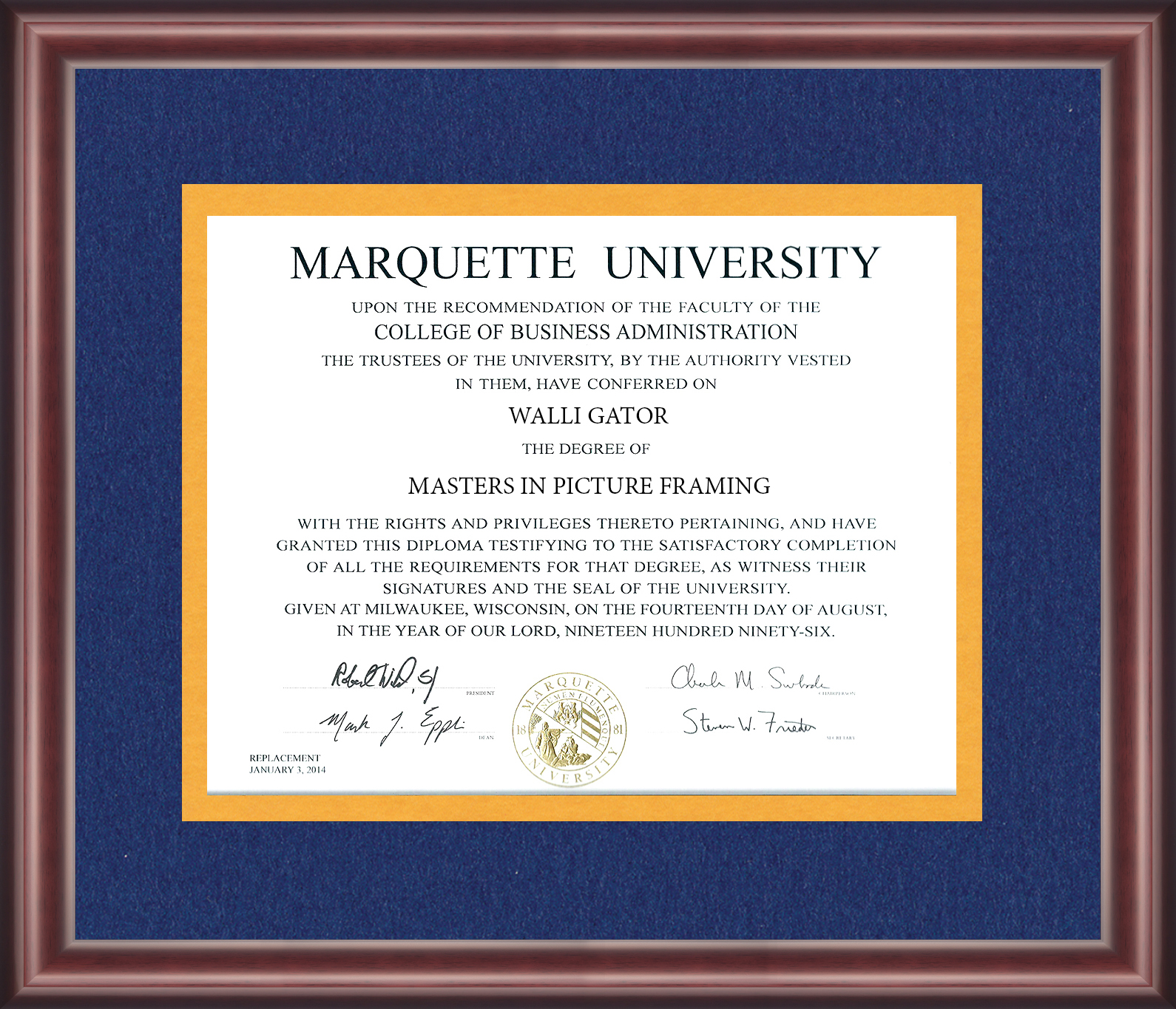 Marquette University Diploma Frame Talking Walls