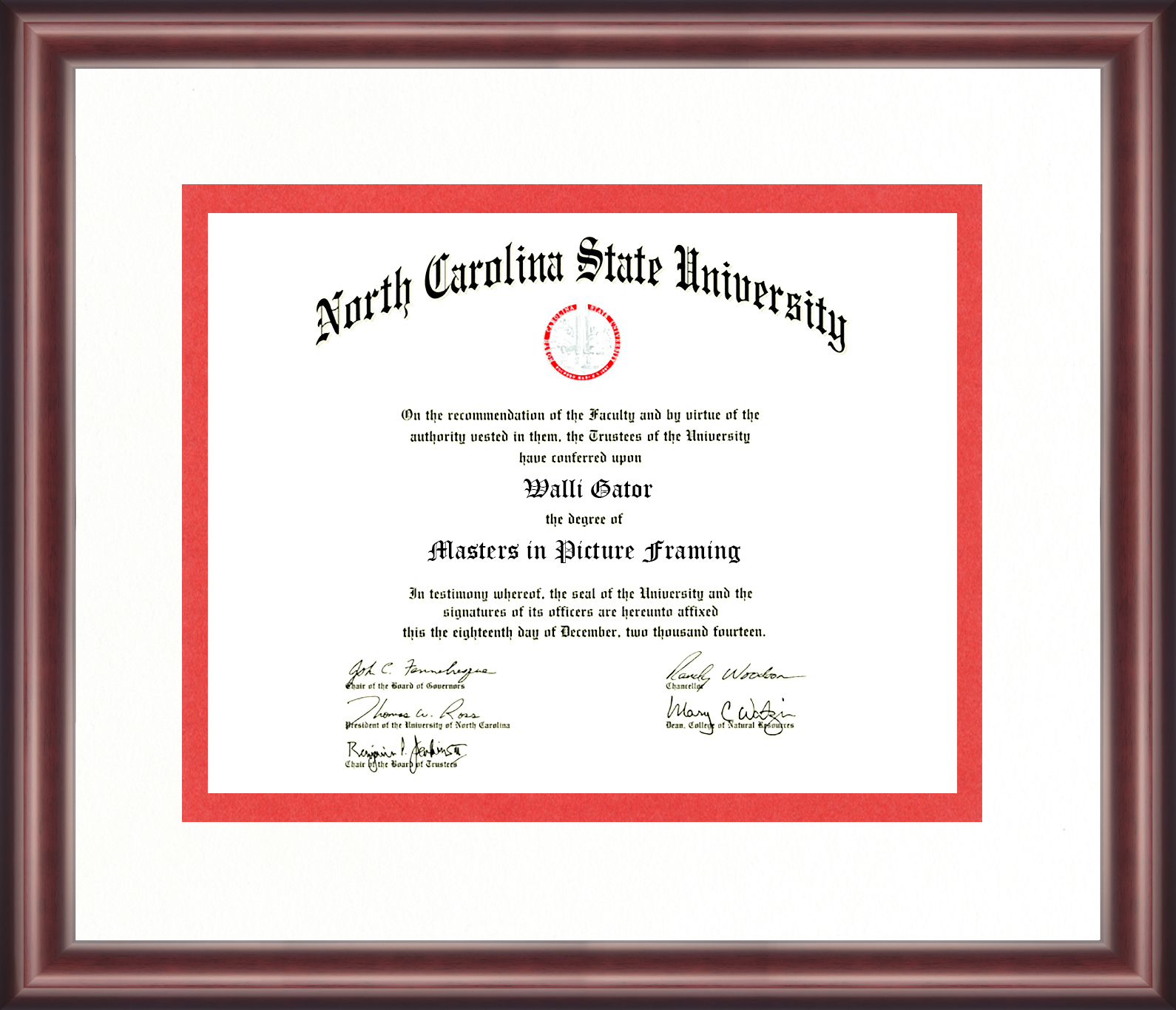 North Carolina State University Diploma Frame Talking Walls