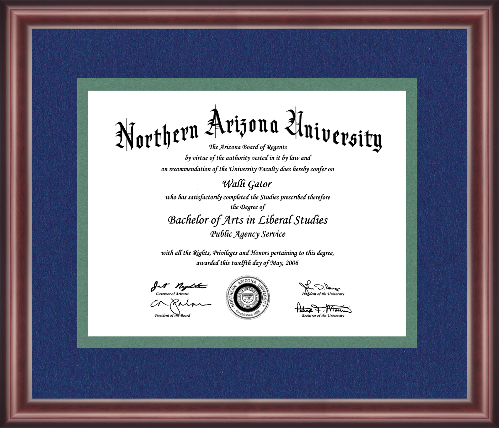 Northern Arizona University Diploma Frame - Talking Walls