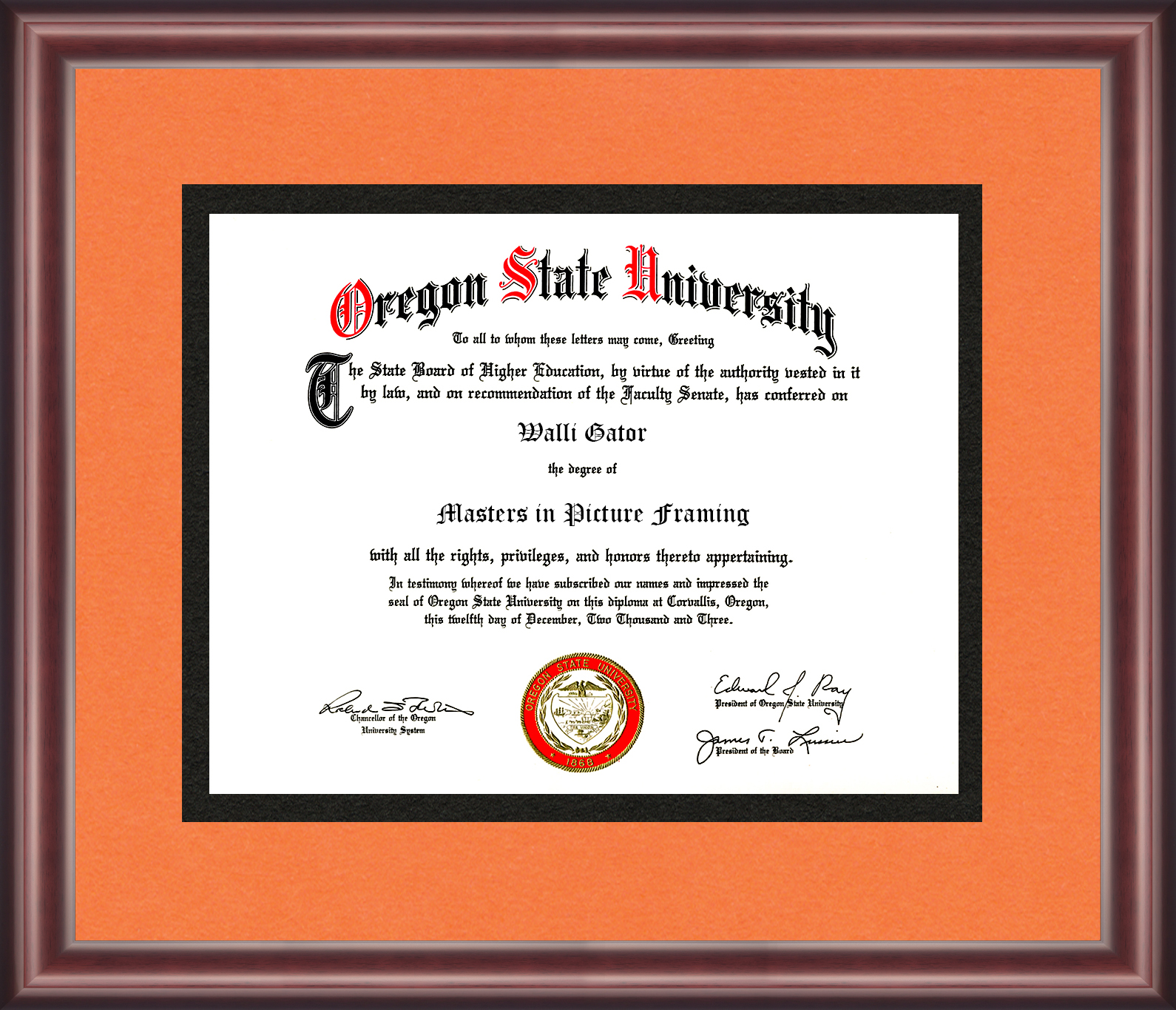 Oregon State University Diploma Frame Talking Walls