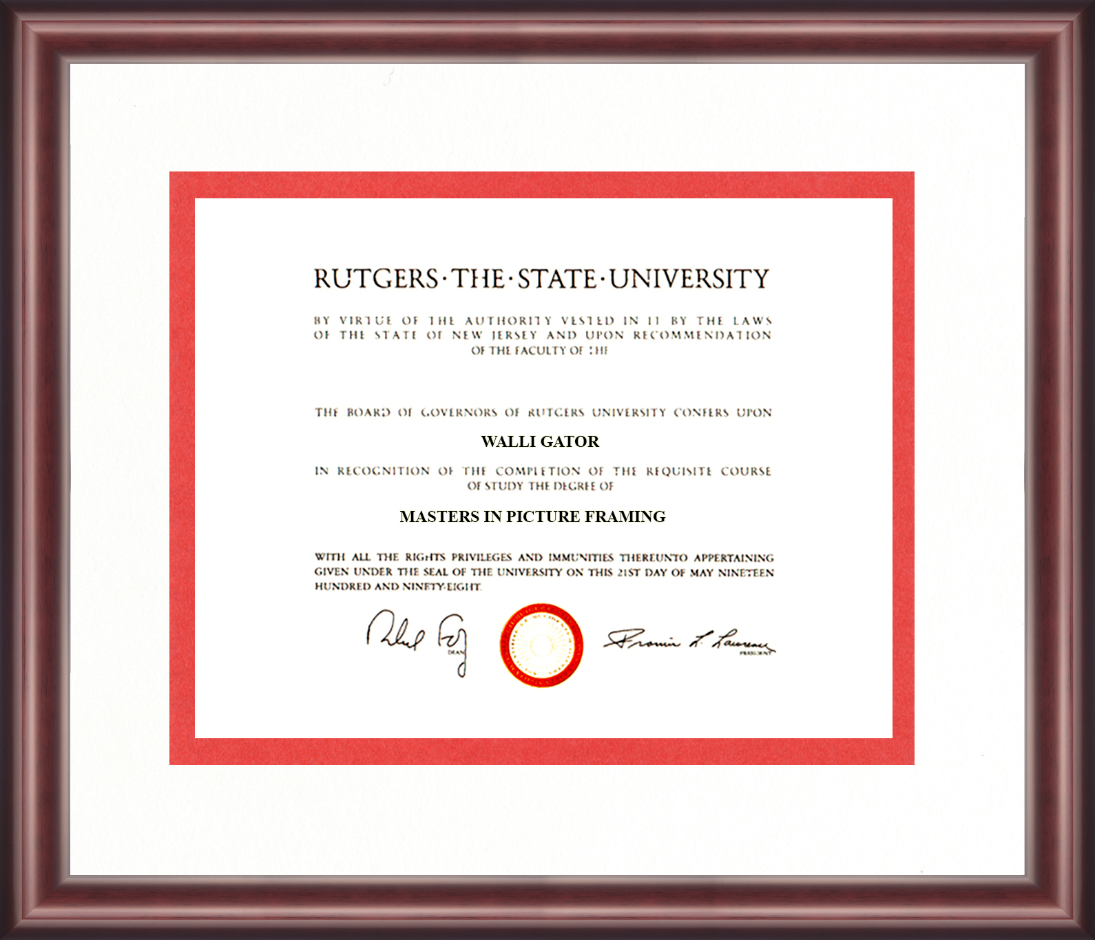 Rutgers University Diploma Frame Talking Walls