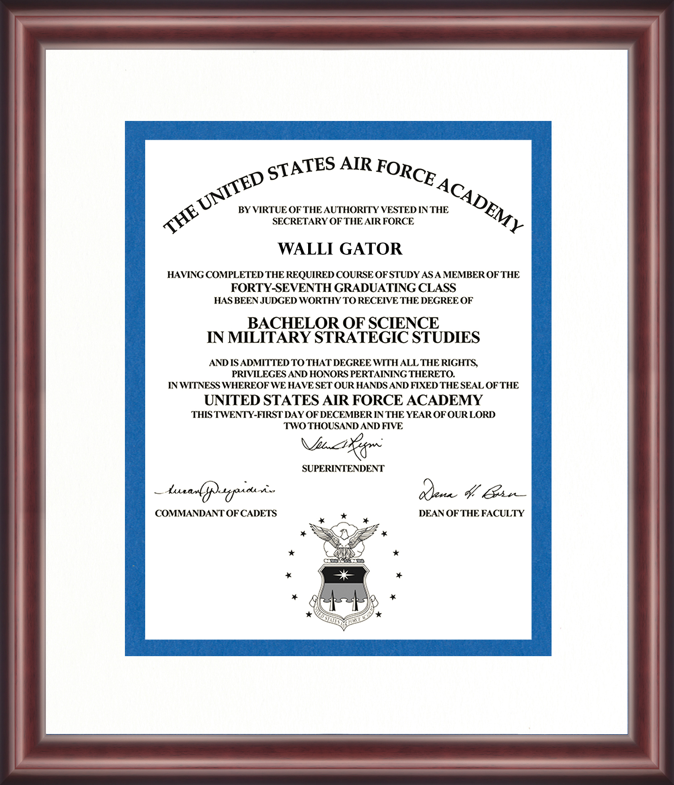 United States Air Force Academy Diploma Frame Talking Walls