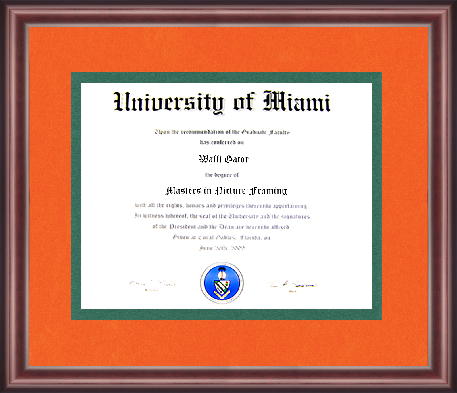 University of Miami Diploma Frame - Talking Walls