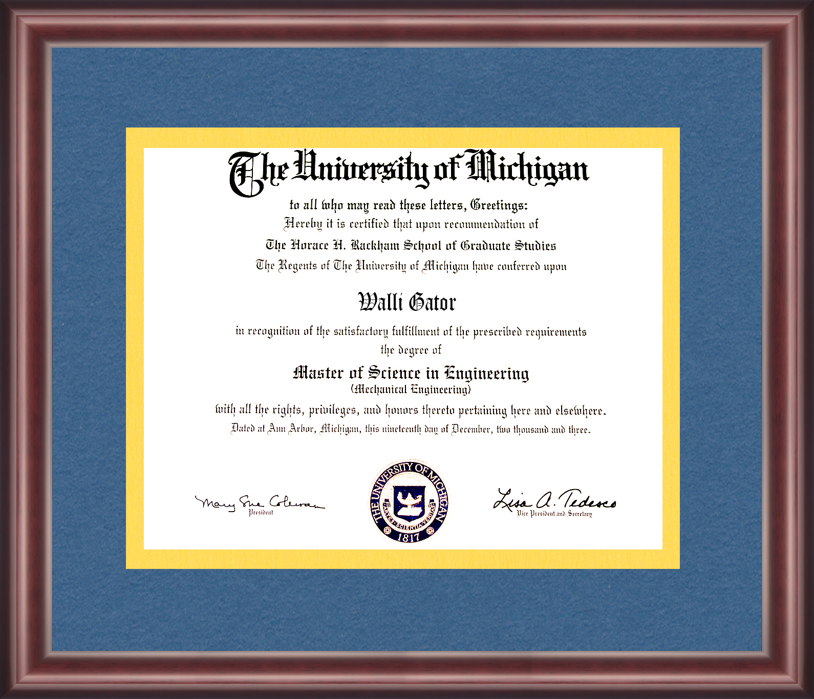 University of Michigan Diploma Frame - Talking Walls