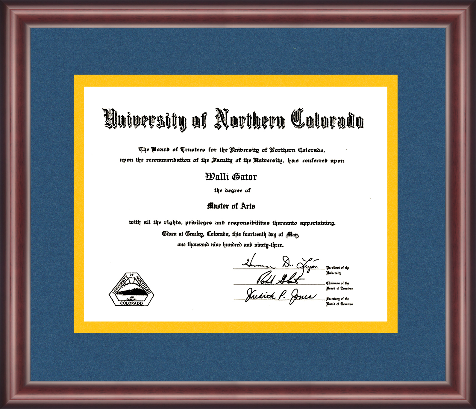 University of Northern Colorado Diploma Frame - Talking Walls