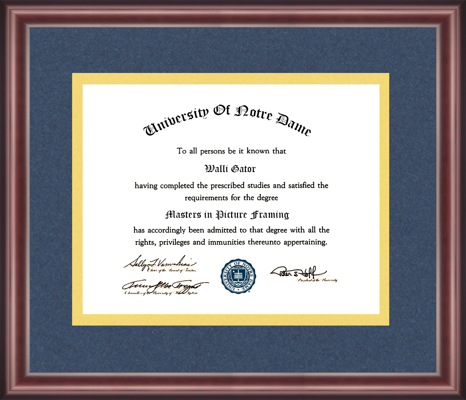University Of Notre Dame Diploma Frame Talking Walls