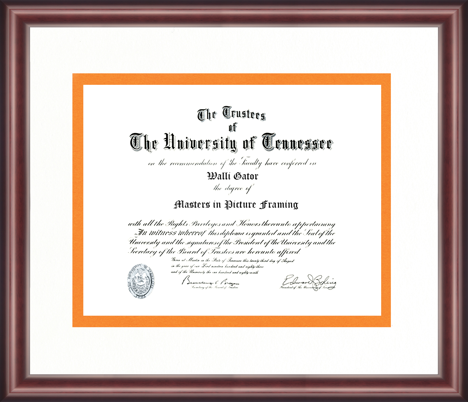 University of Tennessee Diploma Frame - Talking Walls