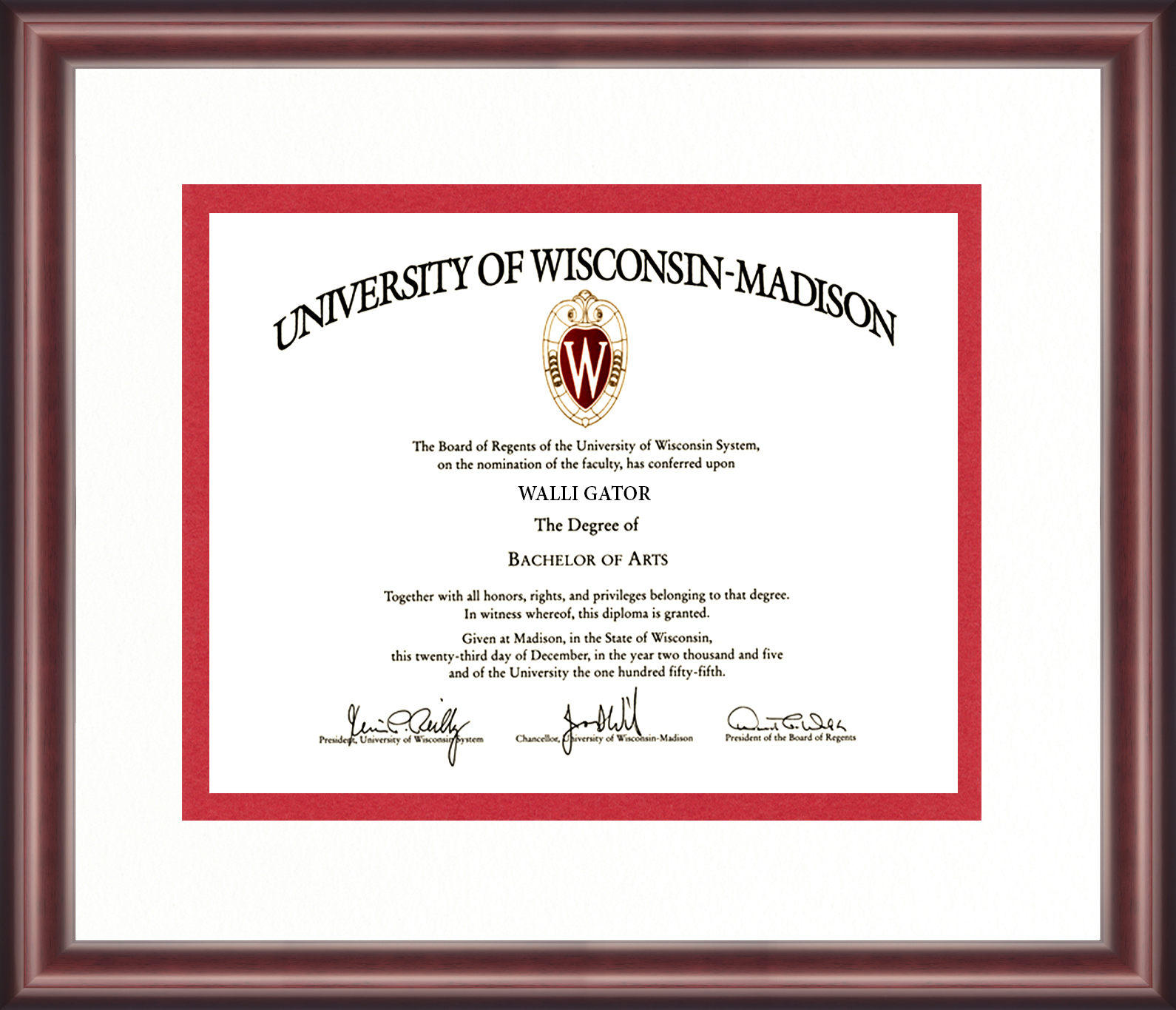 University Of Wisconsin Diploma Frame Talking Walls