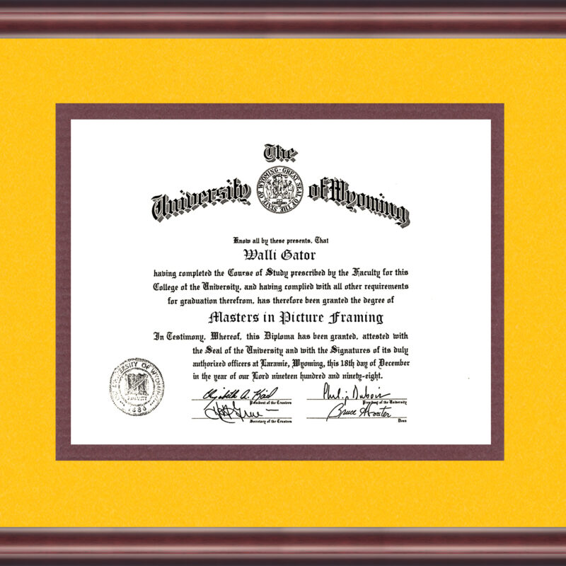 University Of Wyoming Diploma Frame Talking Walls