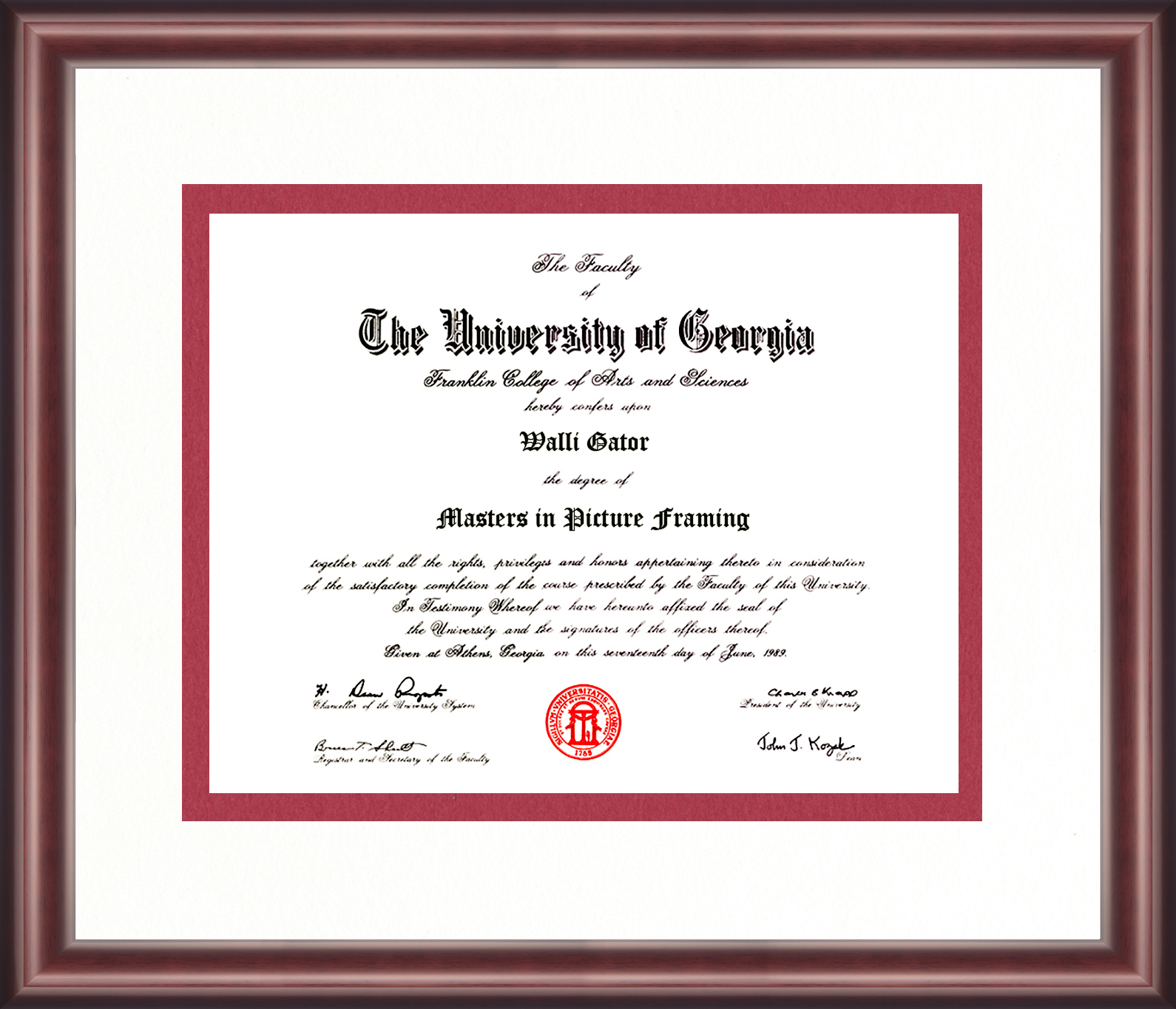 University Of Georgia Diploma Frame Talking Walls